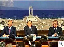 Conferenza Berlusconi Maroni Alfano Reggio Calabria