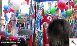 La manifestazione a roma dei sindacati uniti e l'ira degli esodati.