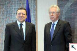 Lungo colloquio tra Monti e Barroso a Bruxelles