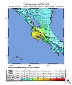 Terremoto di magnitudo 7,6 colpisce il Costa Rica.