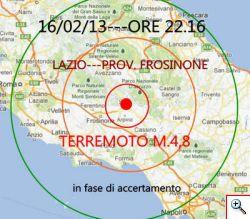 Terremoto 5,0 della scala Richter con epicentro in provincia di Frosinone