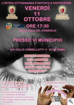 Roma 11 ottobre Convegno contro la violenza di genere